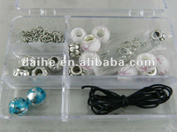DIY jewelry with blue white beads and black wax string DIY necklace accessories DH-H0013