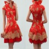 Red Short China Cheongsam Wedding Party Dress