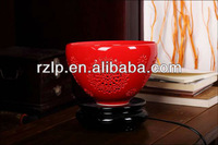 Jingdezhen Ceramics Craft Ceramic hollow out lamp Chinese red bowl shape Table Lamp