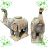 wooden hand carving sculpture with elephant YL-Q006