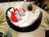 2012 New Design Outdoor Rattan Wicker Furniture Patio Garden Assembled Sunset Sofa and Table Set With Red and White Cushions