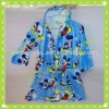 100% cotton velour printed bathrobe/bath dress for children