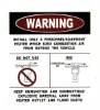 4C process warning label vinyl sticker window mirror sticker
