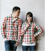 2012 style check shirt 100% cotton korean couple shirts