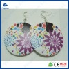 White round with flower printing wooden earrings
