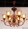 Iron Craft Chandelier with blown glass shape/Chandeliers