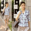 Korean New Women  lattice Blouse Shirts Apparel Tops(Paypal!)grid clothing