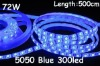 BLUE 5050 epoxy glue waterproof IP65 60LEDs/m 300LEDs/roll flexible strip with DC12V and white FPC