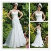 A-line high-quality pleated lace-up wedding dresses WD003