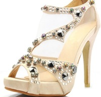 2012 new style crystal high heel women sandal shoes with wholesale price