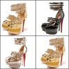 2012 European style spiked and studs fashion high heel sandals with metal strap