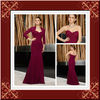 Elegant wine red lace chiffon long sleeve mother of the bride dress
