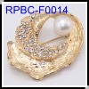 Wholesale Imitated Gold Plated FWP Conch Shape Brooches
