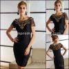 Custom Made Free Shipping Short Sleeve Black Beading cocktail dress 2012 Black Beading cocktail dress 2012