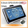 5.0inch GPS DVR OBD TPMS navigation for CPU ARM9 533mHZ Sirf 3 GPS receiver