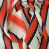 100% polyester stripe with birds printed Chiffon fabric
