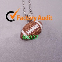 NK227 Rhinestone Football Charm Pendant Necklace/ Jewelry Findings