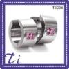 wholesale high quality jewelries titanium red crystal hoop earrings