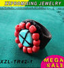turquoise red coral ring manmade top quality exquisite design