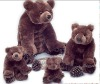 a set of family dark brown bear plush toys