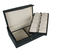 Black leather 10 watch storage box case organizer for men 1792
