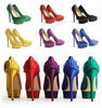 colorful satin platform high heel lady shoes fashion 2012
