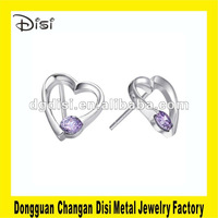 2012 Disi Fashion Design Heart Shaped Ear Stud,Crystal Stainless Steel Jewelry,Switzerland Rhinestone Earrings Fashion Jewelry