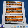 warning adhesive sticker