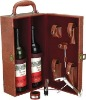Leather wine box with two bottles space