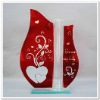 Vase Glass, Leaf Shape Glass Vase with Heart and Text Printing FF-G1006