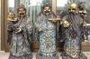 Antique Pure bronze 24K Gold cloisonnes 3 Lucky God Immortals ST