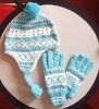 ST-036 jacquard fashion glove and hat set