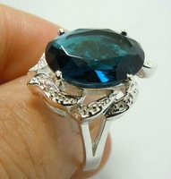 Personality fashionable 925 silver egg sapphire ring