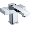 Square double handle basin faucets