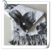 White with black patterns cashmina scarf
