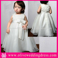 LV60028 Sleeveless round neck Ball gown Floor length Appliqued flowers Organza kids party wear dresses for girls