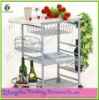 Silver Kitchen Trolley with Wine Rack