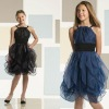 Sleeveless organza and jersey knee-length A-line Dress with pleated organza treatment Lovely Black Children Pary Dresses GD112