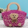 wooden handles bear straw handbag