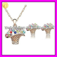 Crystal Flower Basket Pendant Necklace Earrings Set for Girls TL-147