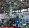2012 chinaplas 3 layer extruder blowing film machine( width 1300),with automatical double winder upper rotary, epc control