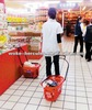rolling plastic supermarket shopping basket with wheels