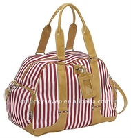 Stripe canvas with PU handbag tote bag WL-BG-1485