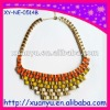 wholesale fashion jewelry metal chain wraped ribbon string handmade fabric bib necklace