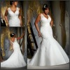 ML 3137 Magnificent Tulle Appliqued V Neck Mermaid Plus Size Wedding Dress