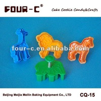 Animals shaped plunger cookie cutter,plastic cookie tools