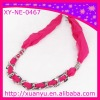 fashion chiffon fabric necklace with chain