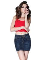 Basic 5 pockets Mid-rise denim skirt