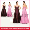 High quality satin strapless scoop neckline handmade bridesmaid dresses