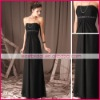 Elegant simple black strapless empire flowing chiffon beaded cheap evening gowns ed0219
